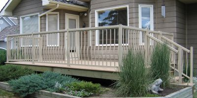 Deck with Railing installation