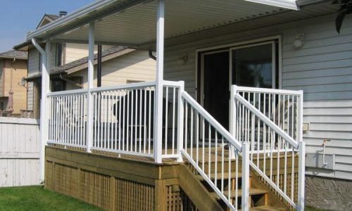 Treated Deck Aluminum Patio Cover Aluminum Picket Railing Calgary's Best Deck Builder